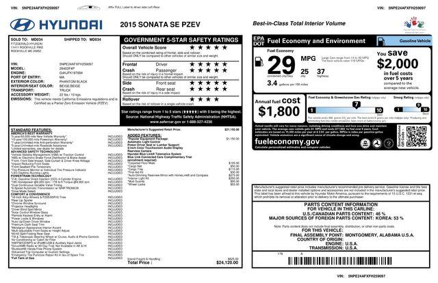 2015 Hyundai Sonata 2.4L SE 3 MONTH/3,000 MILE NATIONAL POWERTRAIN WARRANTY Mesa, Arizona 24