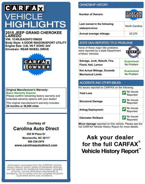 "2015 Jeep Grand Cherokee Laredo RWD - NAV - 18"" WHEEL & 8.4"" RADIO GROUP! Mooresville , NC 3"