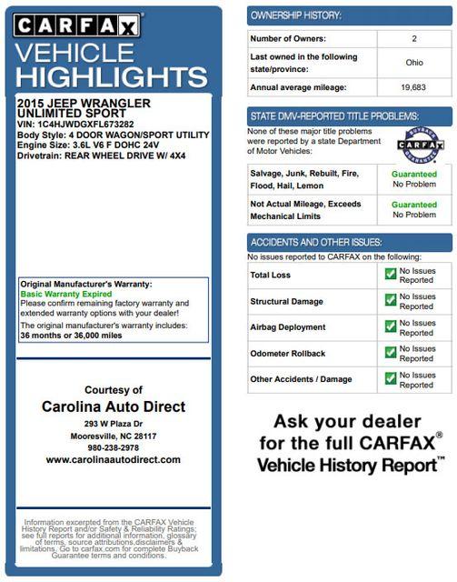 2015 Jeep Wrangler Unlimited Sport 4X4 - ANVIL PAINT - BLACK 3-PIECE HARD TOP Mooresville , NC 3