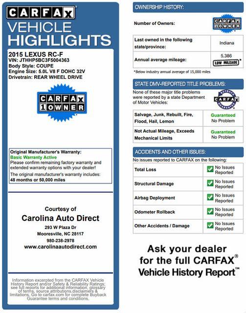 2015 Lexus RC F PREMIUM & NAV/MARK LEVINSON PKGS - RADAR CRUISE! Mooresville , NC 3