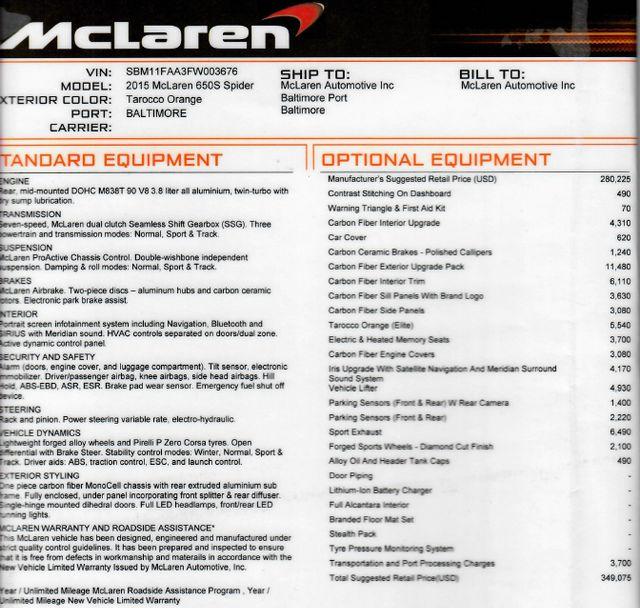 2015 Mclaren 650S in Gower Missouri, 64454