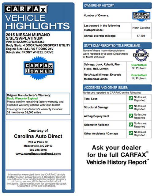 2015 Nissan Murano SL FWD - TECHNOLOGY PKG! Mooresville , NC 3