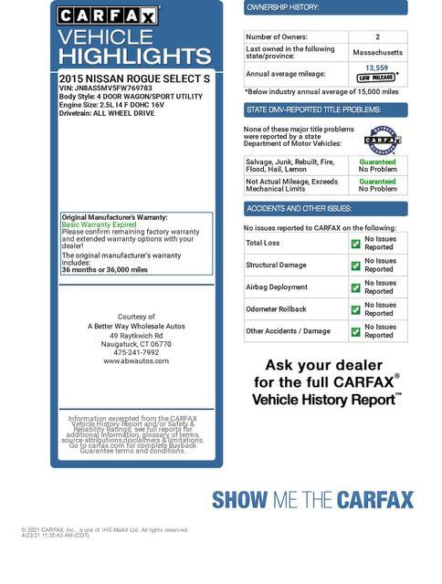2015 Nissan Rogue Select S Naugatuck, Connecticut 1
