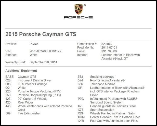 2015 Porsche Cayman in Carrollton TX