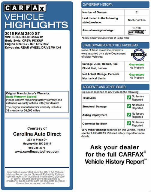 2015 Ram 2500 Crew Cab 4x4 - BLUETOOTH - FIBERGLASS TOPPER! Mooresville , NC 3