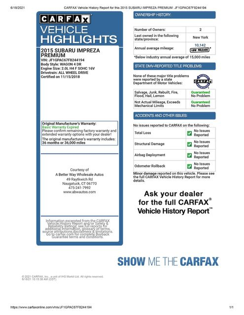2015 Subaru Impreza 2.0i Premium AWD Naugatuck, Connecticut 1
