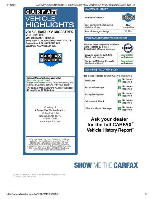 2015 Subaru XV Crosstrek Limited AWD Naugatuck, Connecticut 1