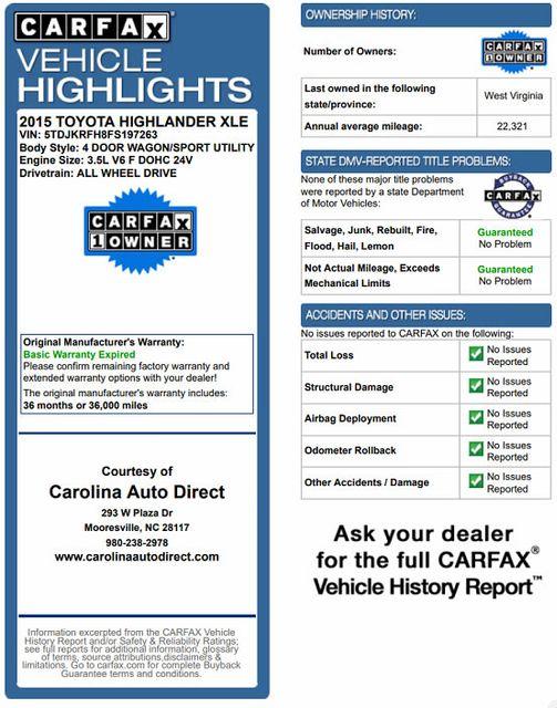 2015 Toyota Highlander XLE AWD Mooresville , NC 3