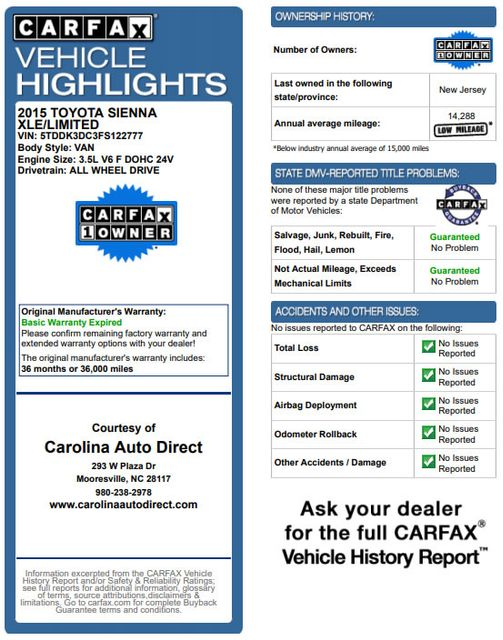 2015 Toyota Sienna XLE Premium AWD - NAVIGATION - REAR DVD - SUNROOF! Mooresville , NC 3