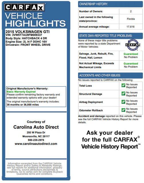 2015 Volkswagen Golf GTI Autobahn FWD - SUNROOF - HEATED LEATHER - TURBO! Mooresville , NC 3