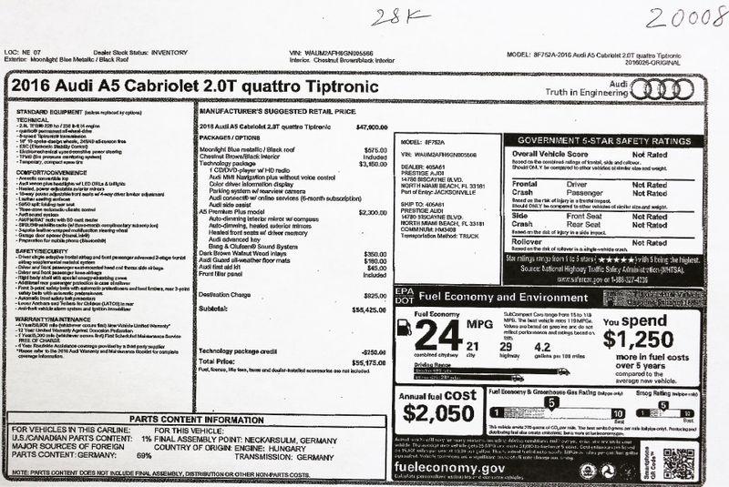 2016 Audi A5 2.0T Quattro Cabriolet in Alexandria VA