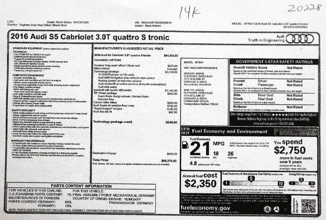 2016 Audi S5 Cabriolet Premium Plus in Alexandria VA