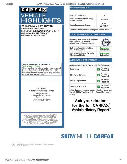 2016 BMW X1 xDrive28i AWD Naugatuck, Connecticut 1