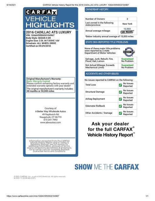 2016 Cadillac ATS Sedan Luxury Collection AWD Naugatuck, Connecticut 1