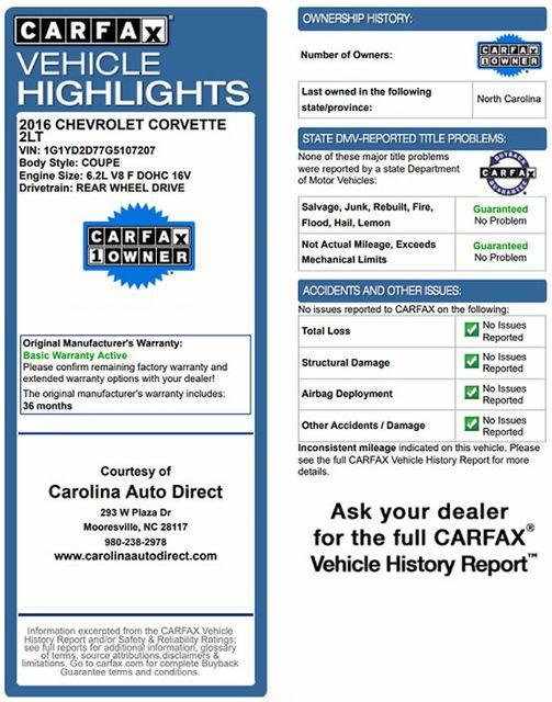 2016 Chevrolet Corvette 2LT - NAV - MAG RIDE - PERFORMANCE EXHAUST Mooresville , NC 3