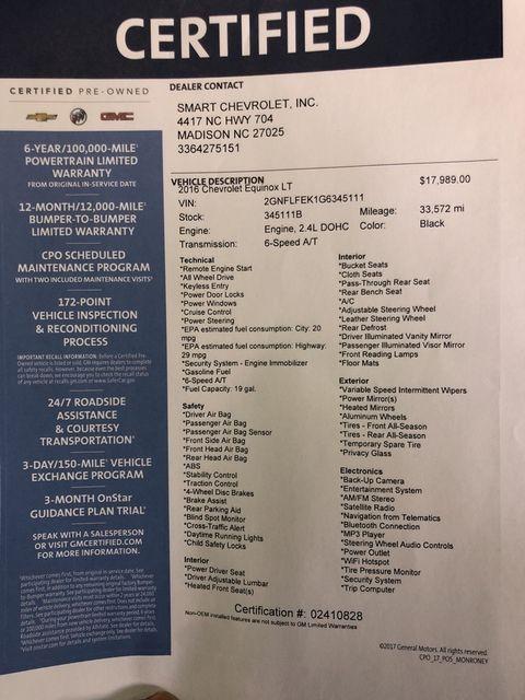 2016 Chevrolet Equinox LT Madison, NC 52