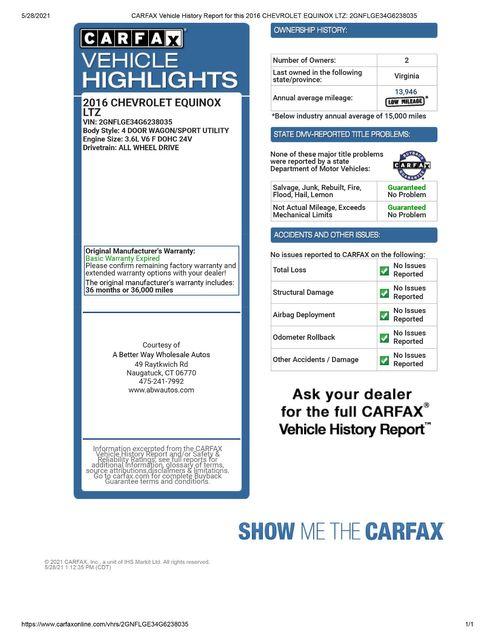 2016 Chevrolet Equinox LTZ AWD Naugatuck, Connecticut 1