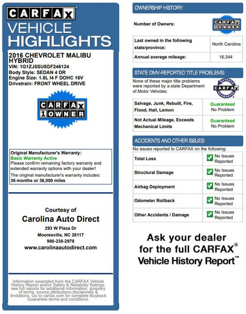 2016 Chevrolet Malibu Hybrid FWD- LEATHER, DRIVER CONFIDENCE  PKGS! Mooresville , NC 3