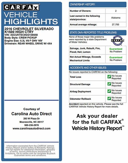 2016 Chevrolet Silverado 1500 HIGH COUNTRY PREMIUM PKG 4X4 - DRIVER ALERT PKG! Mooresville , NC 3