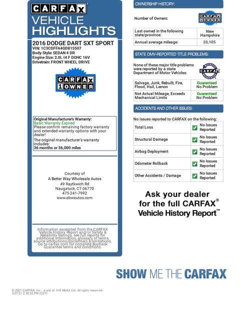2016 Dodge Dart SXT Sport Rallye Naugatuck, Connecticut 1