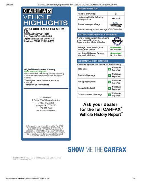 2016 Ford C-Max Energi SEL Naugatuck, Connecticut 1