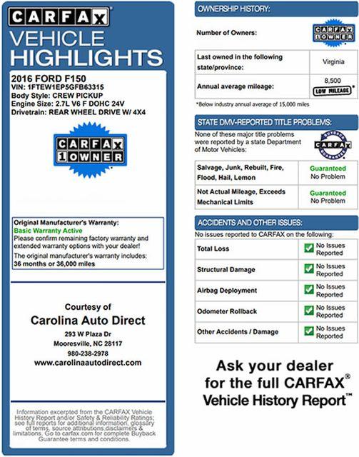 2016 Ford F-150 XLT SuperCrew 4x4 - 301A & CHROME PKGS! Mooresville , NC 3