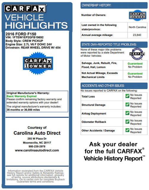 2016 Ford F-150 XLT Crew Cab 4x4 FX4 - 301A & CHROME PKGS! Mooresville , NC 3