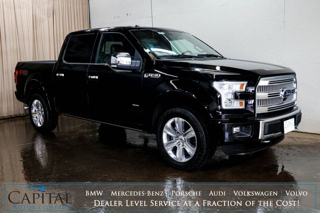 2016 Ford F-150 Platinum Crew Cab ECOBOOST 4x4 w/FX-4 Pkg, Nav, 360º Cam, Heated/Cooled/Massage Seats & 20s in Eau Claire, Wisconsin 54703