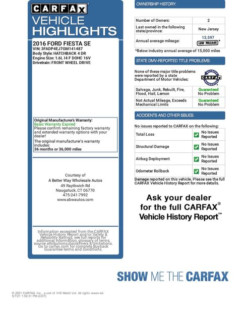 2016 Ford Fiesta SE Naugatuck, Connecticut 1