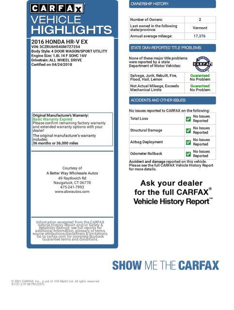 2016 Honda HR-V EX AWD Naugatuck, Connecticut 1