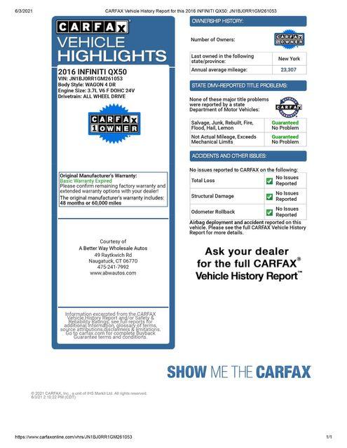 2016 Infiniti QX50 AWD Naugatuck, Connecticut 1