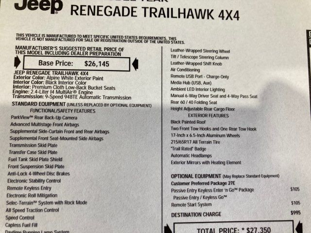 2016 Jeep Renegade Trailhawk 4x4 in Boerne, Texas 78006