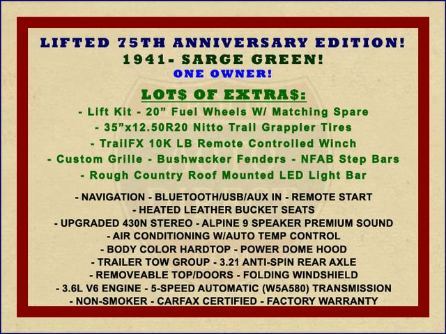 2016 Jeep Wrangler Unlimited 75th Anniversary Edition - 1941 - LIFTED - EXTRA$! Mooresville , NC 1