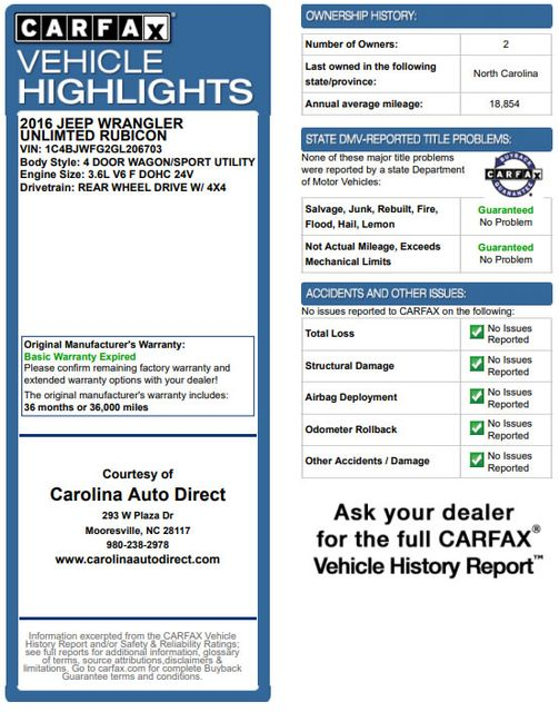 2016 Jeep Wrangler Unlimited Rubicon 4x4 - LIFTED - EXTRA$ - NAV - HEATED SEATS Mooresville , NC 3