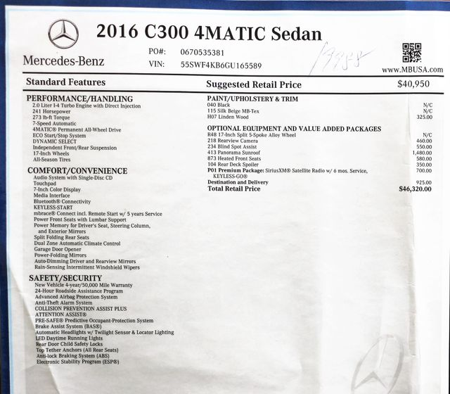 2016 Mercedes-Benz C-Class C300 4Matic in Alexandria VA
