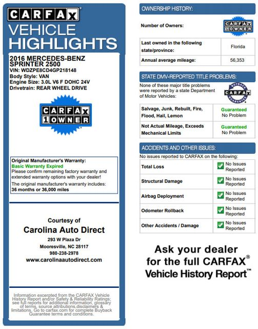 "2016 Mercedes-Benz Sprinter Passenger Van 2500 170"" High Roof - DIESEL - BLIND SPOT - MORE! Mooresville , NC 3"