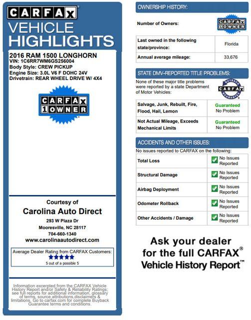 2016 Ram 1500 Longhorn Crew Cab 4x4 - DIESEL - NAV - SUNROOF! Mooresville , NC 3