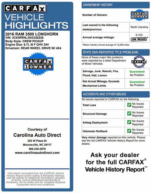 "2016 Ram 3500 Longhorn Mega Cab 4x4 - LIFTED - 22.5"" WHEELS! Mooresville , NC 3"