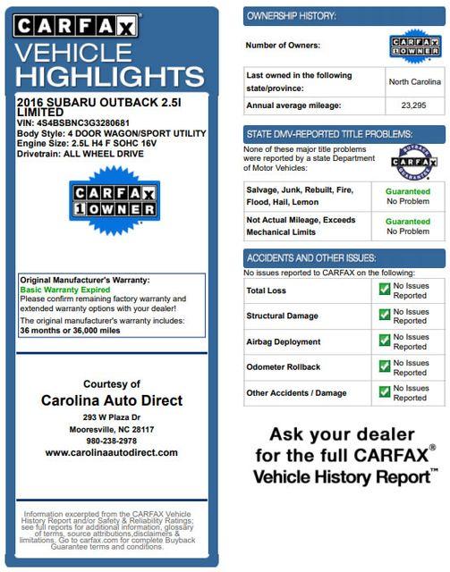2016 Subaru Outback 2.5i Limited AWD - MOONROOF PKG W/NAVI & EYESIGHT! Mooresville , NC 3
