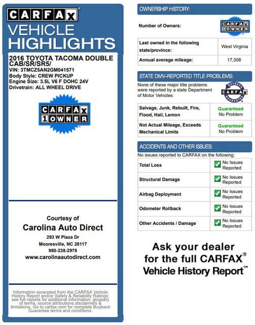 2016 Toyota Tacoma TRD Sport Double Cab 4x4- NAVIGATION- HARD TONNEAU Mooresville , NC 3