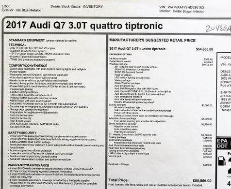 2017 Audi Q7 3.0T Quattro Prestige in Alexandria, VA