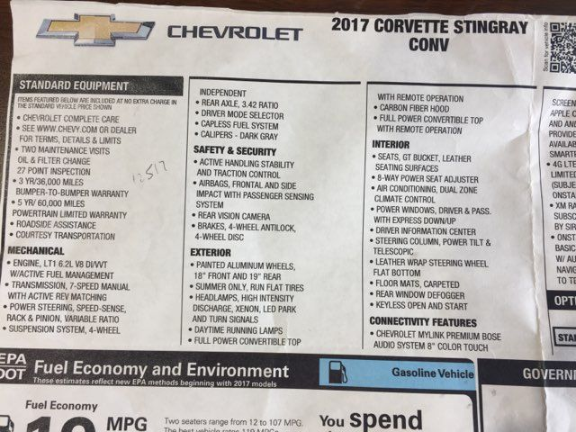 2017 Chevrolet Corvette 3LT, 7SPD , RIDE CONTROL in Boerne, Texas 78006
