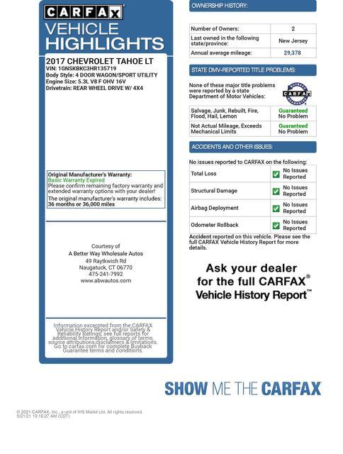 2017 Chevrolet Tahoe LT 4WD Naugatuck, Connecticut 1