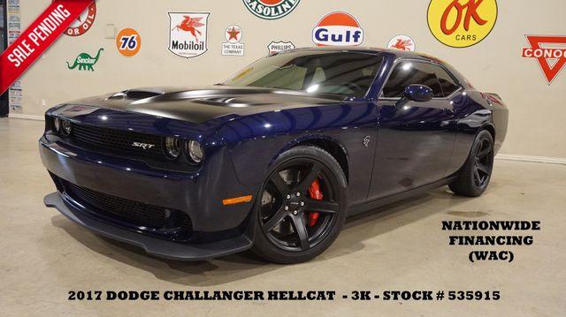 2017 Dodge Challenger SRT Hellcat AUTO,ROOF,NAV,HTD/COOL LTH,BLK 20'S,3K