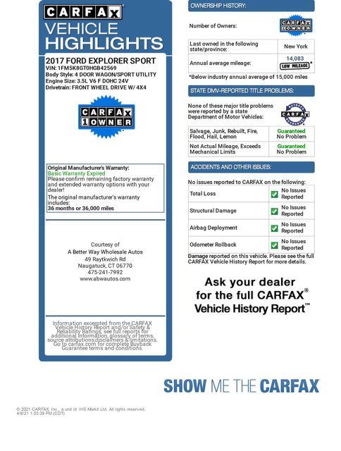 2017 Ford Explorer Sport 4WD Naugatuck, Connecticut 1