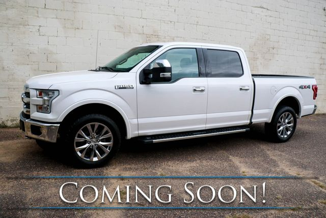 2017 Ford F-150 Lariat Crew Cab 4x4 w/5.0L V8, Panoramic Moonroof, Nav, 360º Cam and Heated/Cooled Seats