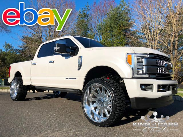 "2017 Ford F250 Crew Platinum 6.7L DIESEL 4x4 26K MILES 26"" FORCES LEVELED WOW"