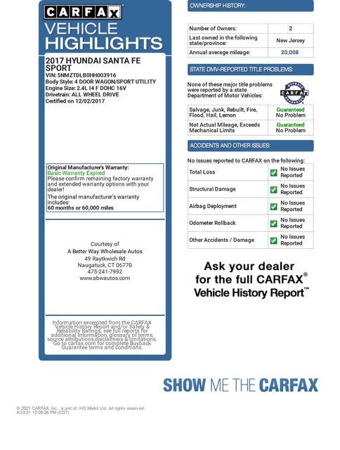 2017 Hyundai Santa Fe Sport 2.4L AWD Naugatuck, Connecticut 1