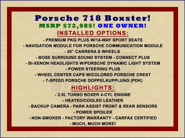 "2017 Porsche 718 Boxster NAV - PREMIUM PKG PLUS - 20"" CARRERA S WHEELS! Mooresville , NC 1"