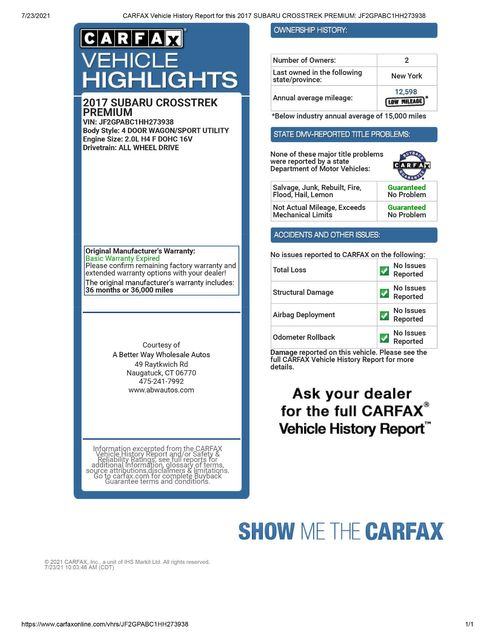 2017 Subaru Crosstrek Premium AWD Naugatuck, Connecticut 1